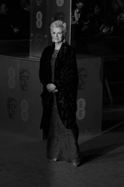 LONDON - FEB 14, 2016: ( Image digitally altered to monochrome ) Julie Walters attends the EE Bafta British Academy Film Awards at the Royal Opera House on Feb 14, 2016 in London