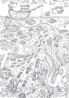 Under water sea life drawn in art line