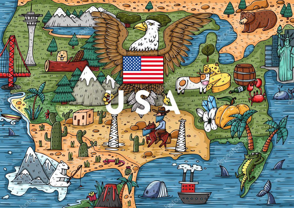 Cartoon USA Map With Popular Places Stock Vector Stotepic - Cartoon us map