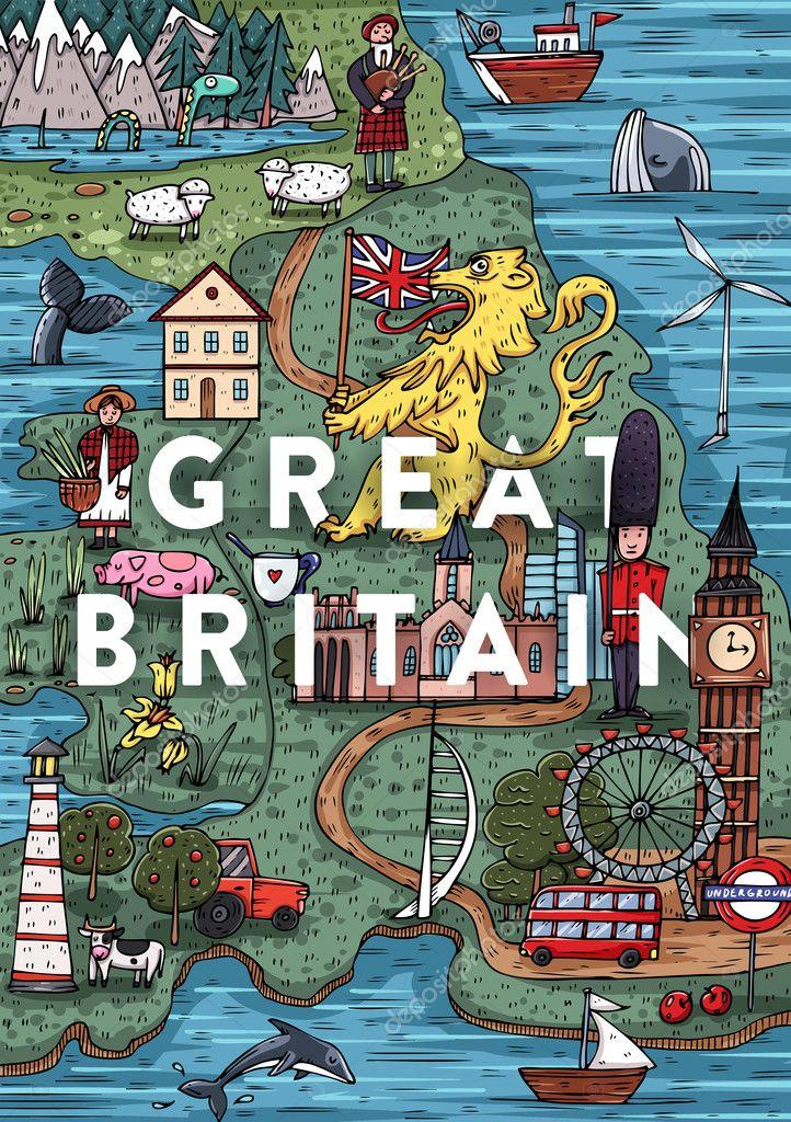 Sehenswürdigkeiten Großbritannien Karte.Großbritannien Karte Mit Sehenswürdigkeiten Stockvektor Stotepic