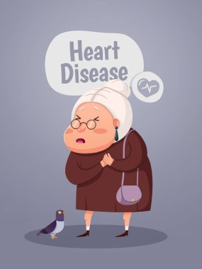 Cartoon old woman with heart attack