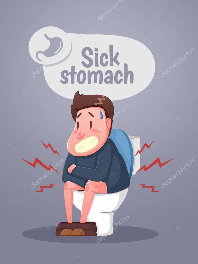 Cartoon Man Sitting On Toilet With Diarrhea Stock Vector