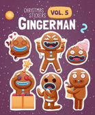 Photo Set of christmas stickers with expressive gingerbread man cookies.