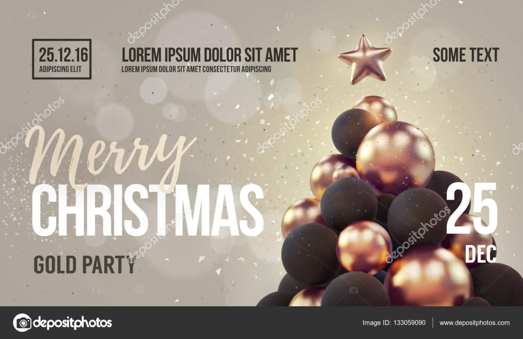 Christmas Card Or Flyer Template With Golden Christmas Tree Stock