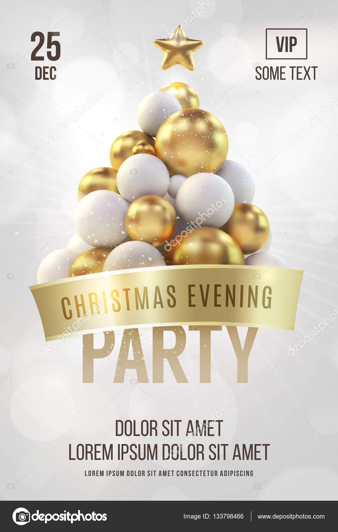 White Christmas Poster Or Flyer Template With Golden Christmas Tree