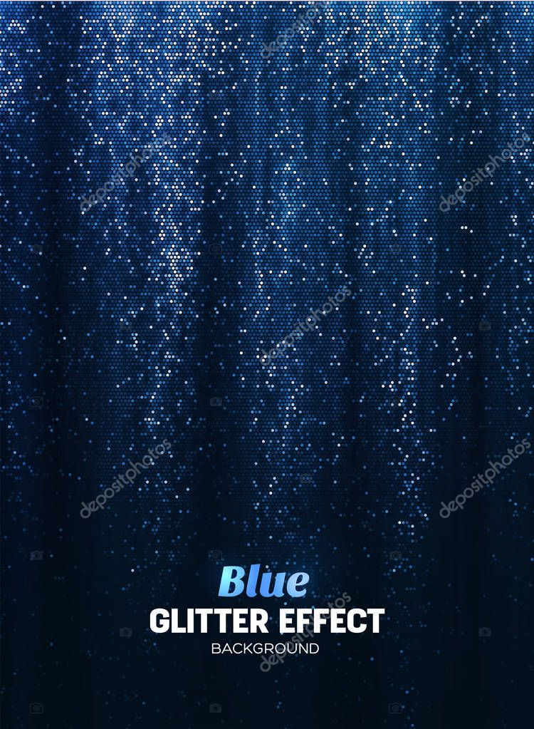 Magic Glitter Background in blue Color. Poster Backdrop with Shine Elements.
