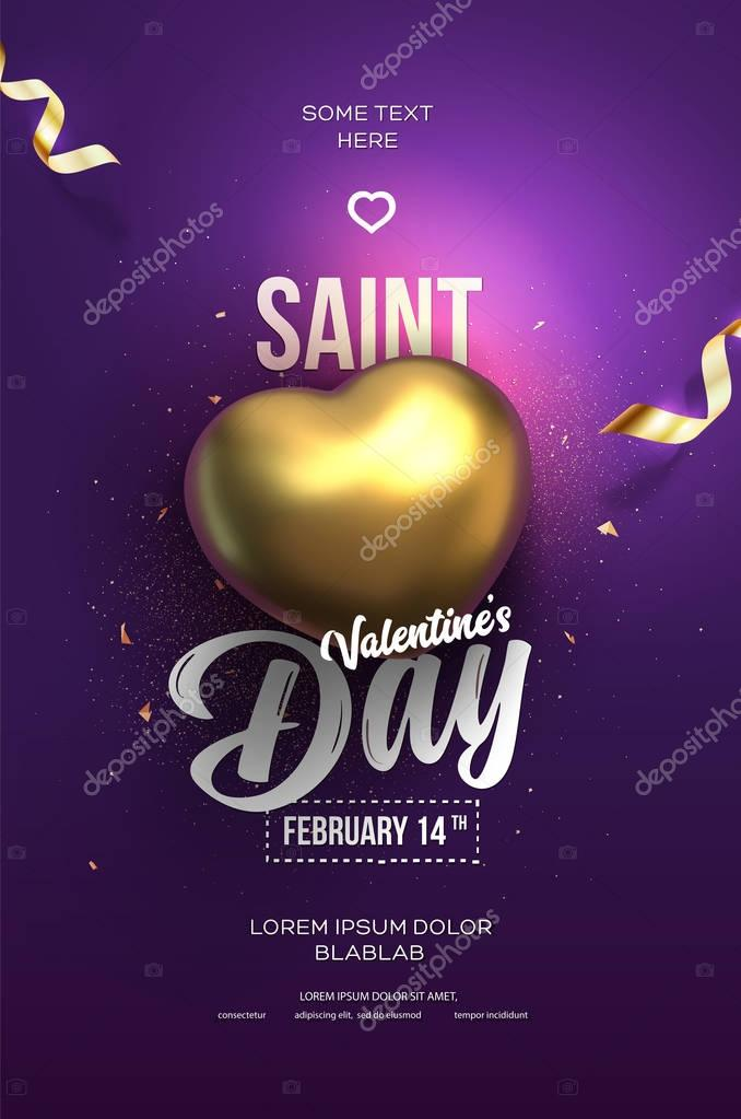Happy Valentine's Day flyer or poster. Top view on golden heart with beautiful purple backdrop