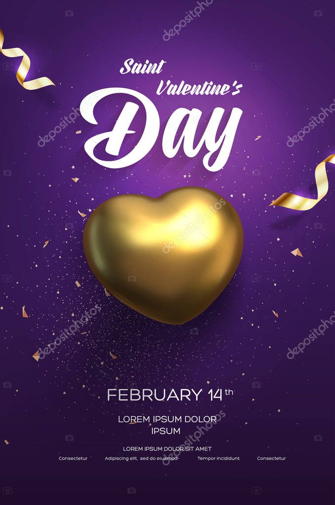 Happy Valentine's Day flyer or poster. Top view on golden heart with beautiful backdrop