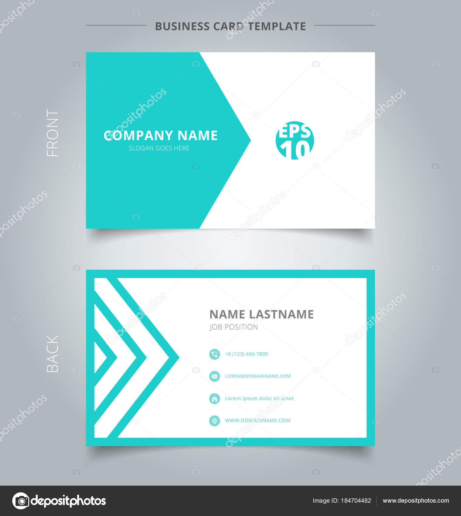 Creative business card and name card template green and white tr ...