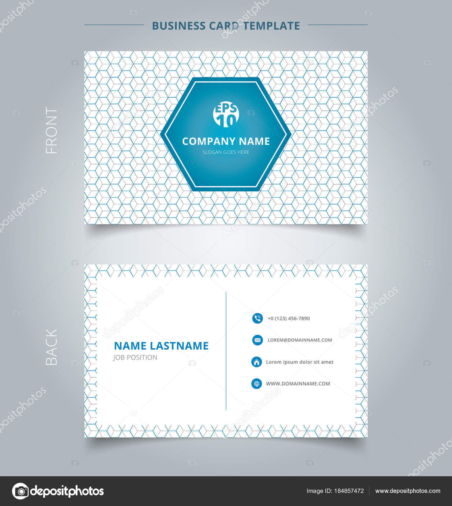 Creative business card and name card template geometric blue, gr ...