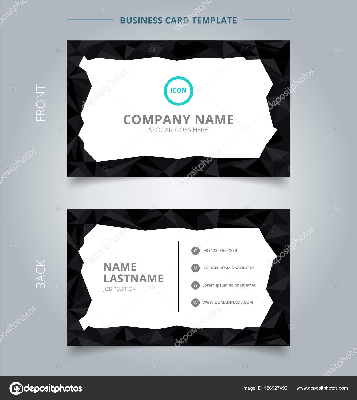 Creative Business Card And Name Card Template Black Low Polygon