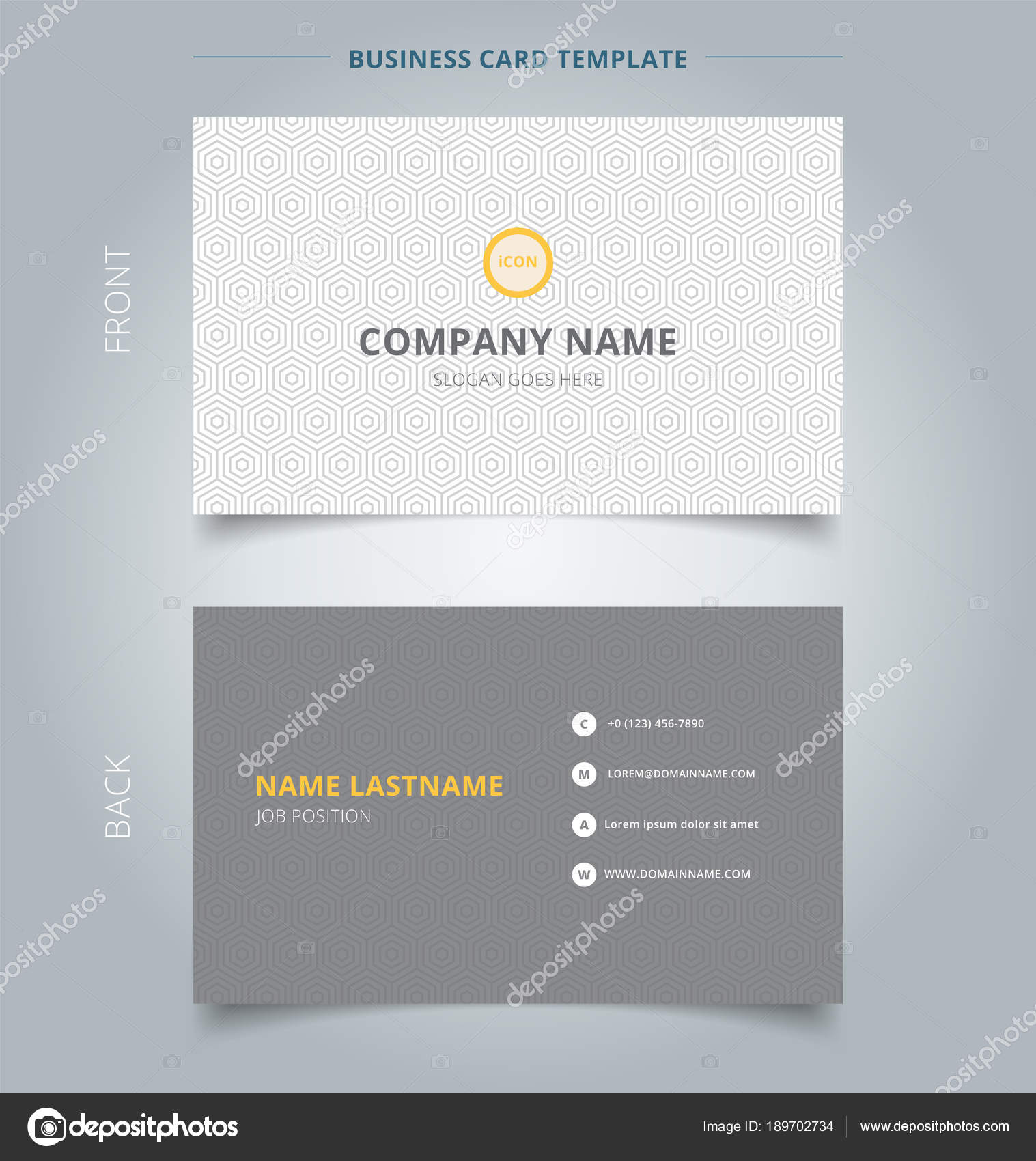 Creative business card and name card template gray hexagon patte ...