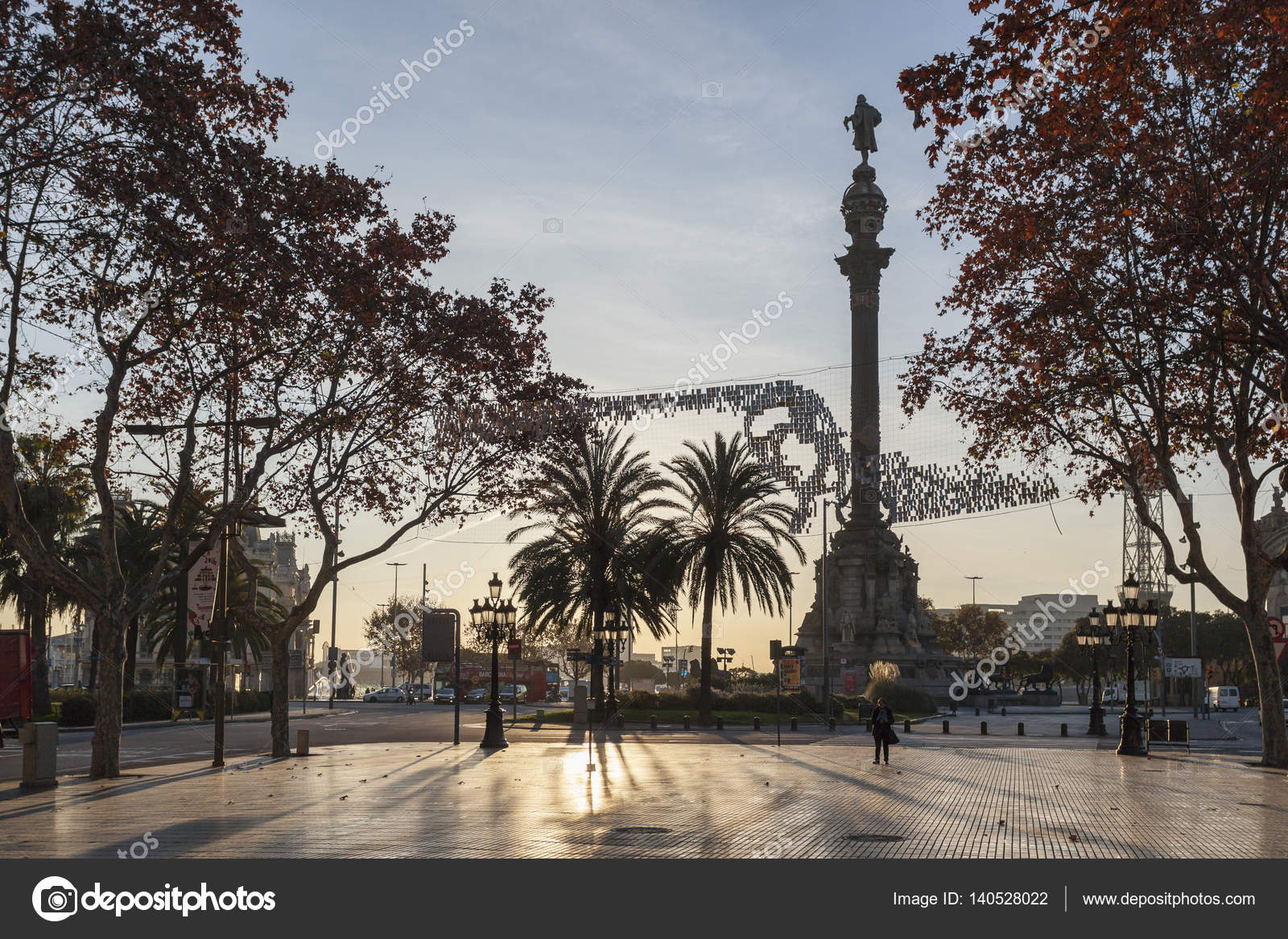 La Rambla And Colon Monument At Dawn Winter Day Barcelona Stock
