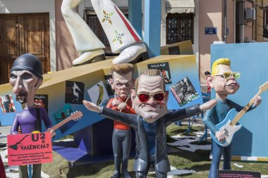 Fallas, Falles, traditional and famous celebration, U2 ninots, puppets,Valencia, Spain.