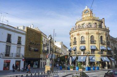 Historic center city view, iconic building town, Edificio Gallo Azul designed by Anibal Gonzalez Alvarez-Ossorio, Jerez de la Frontera,Andalucia.
