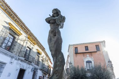 Sculpture, statue, monument tribute to Lola Flores, historic center of Jerez de la Frontera,Andalucia.