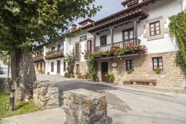 Traditional houses, accomodation, posadas in touristic village of Santillana del Mar, province Santander, Cantabria, Spain.