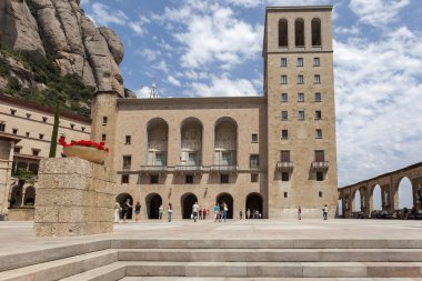 Benedictine abbey monastery of Santa Maria de Montserrat, mountain of Montserrat,  touristic destination religious-cultural, province of Barcelona, Catalonia.