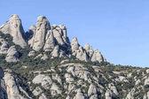 Formazioni rocciose, picchi di montagna di Montserrat, vista del paesaggio, massiccio nei pressi di Barcellona, Catalogna, Spagna