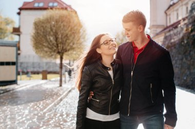 A young students couple dating in the city