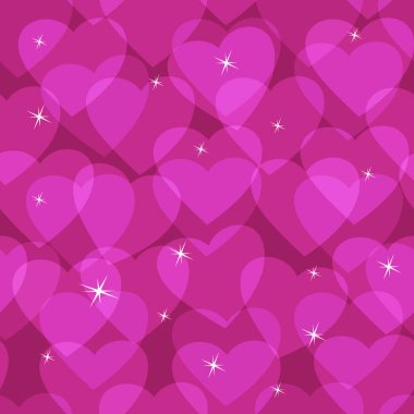 Seamless pattern from transparent hearts