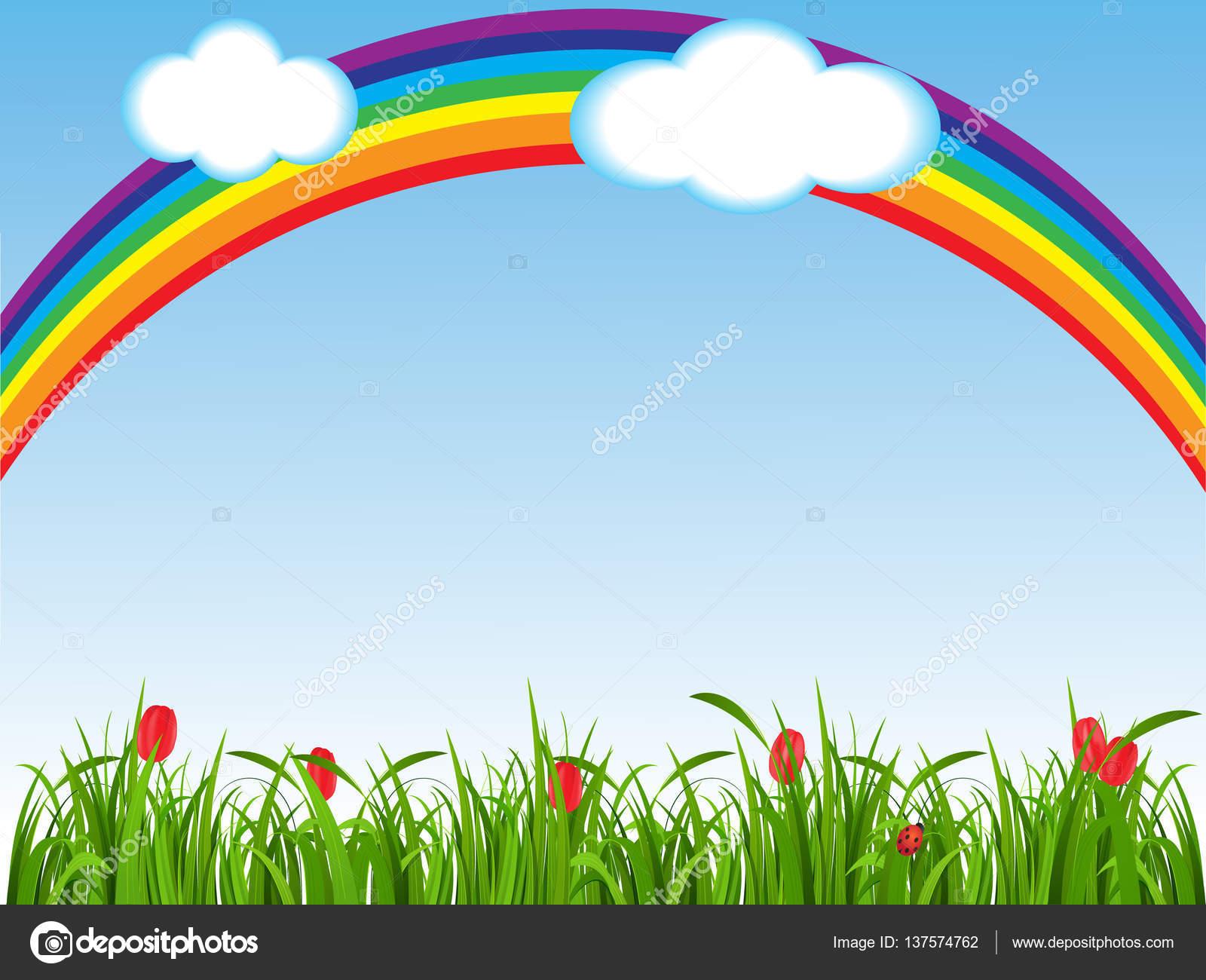 Fondo Primavera: Fondo De Primavera Con Un Verde Césped, Flores Y Un Arco