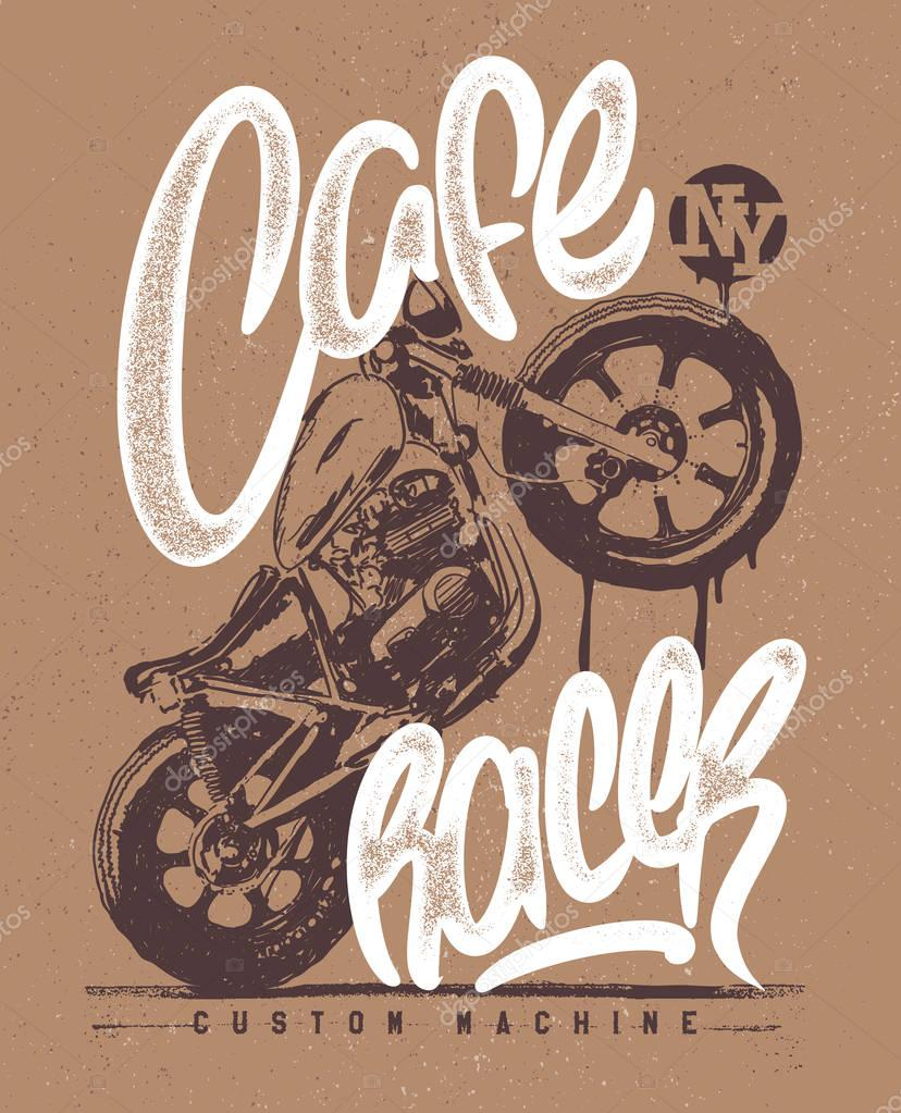 Cafe Racer Vintage Motorcycle Hand Drawn T Shirt Print Stock