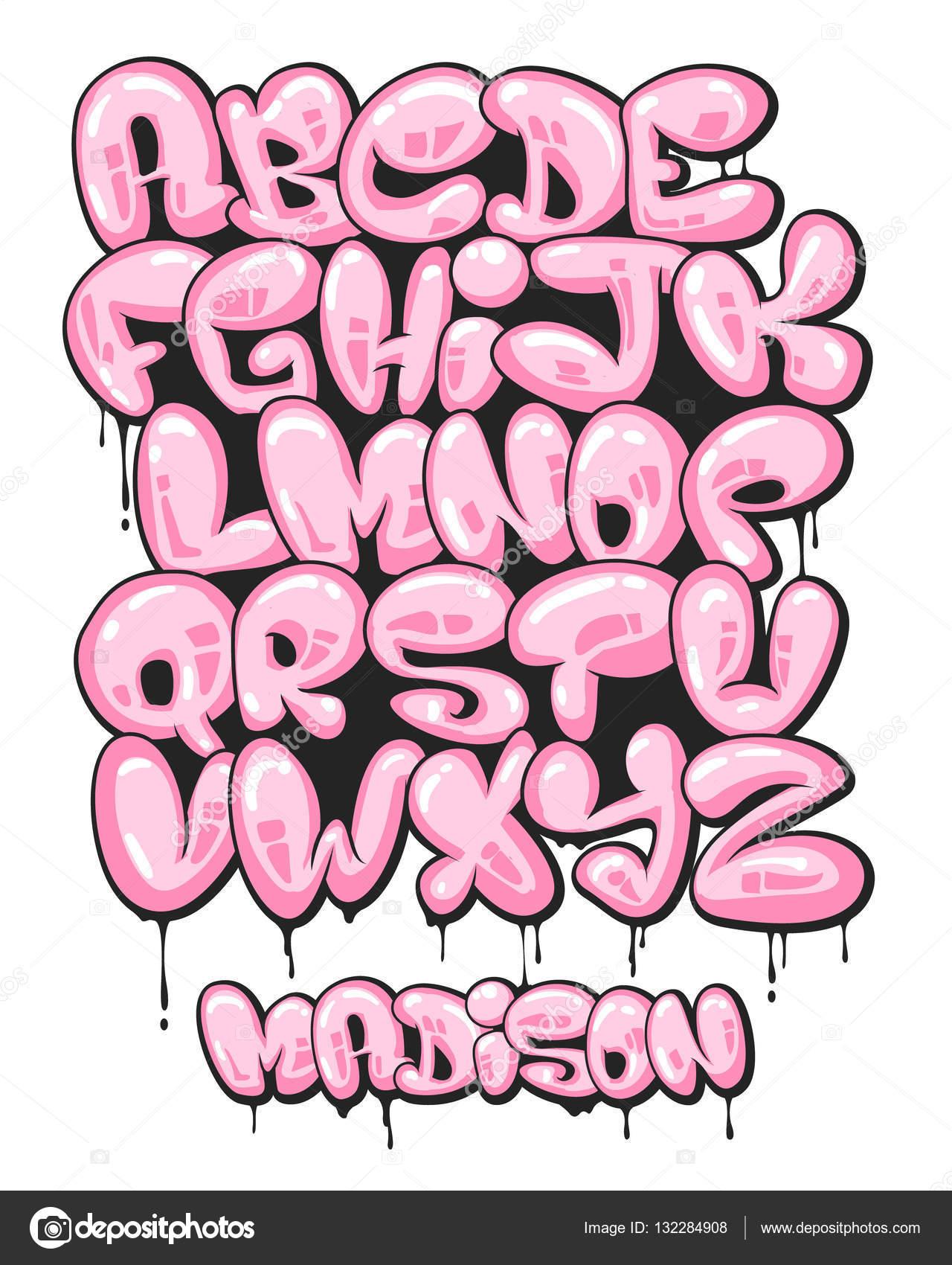 Preferência Burbuja de graffiti alfabeto sistema formado — Vector de stock  FC57