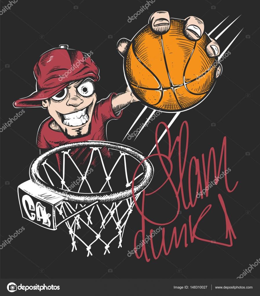 0fedb2aa4de8 Mad basketball slam dunk t-shirt print design vector illustration. — Stock  Vector