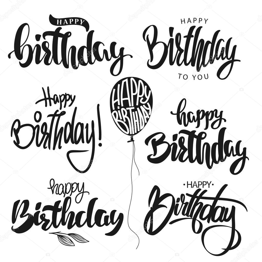 happy birthday hand lettering m 227 o de caligrafia feliz anivers 225 vector conjunto de 22082 | depositphotos 153376736 stock illustration happy birthday calligraphy hand lettering