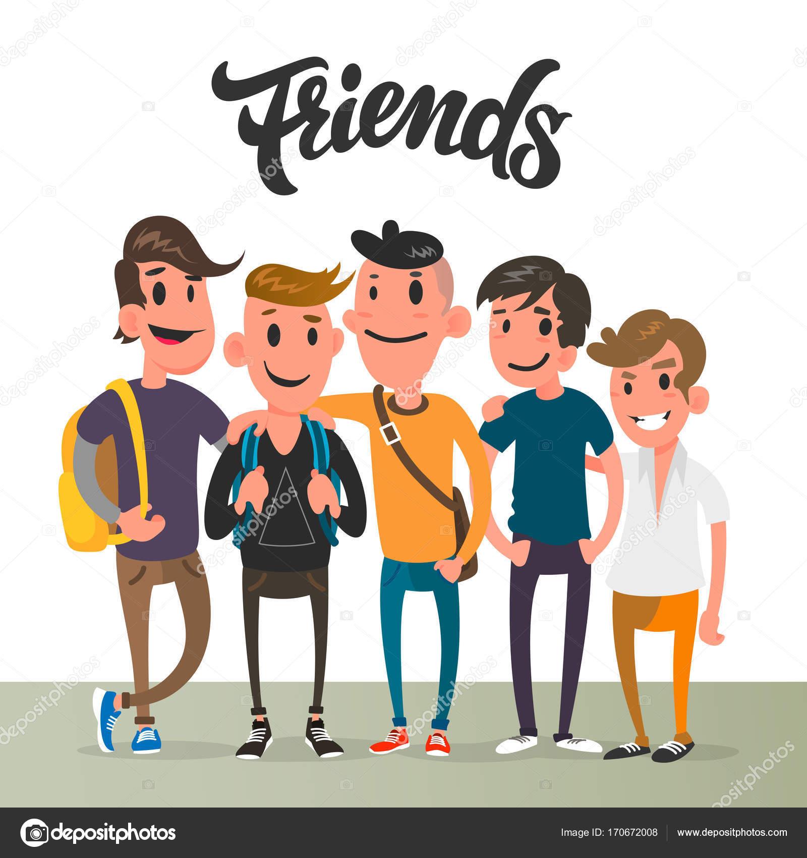 Chicos Cinco Mejores Amigos Estudiante Personajes De Dibujos