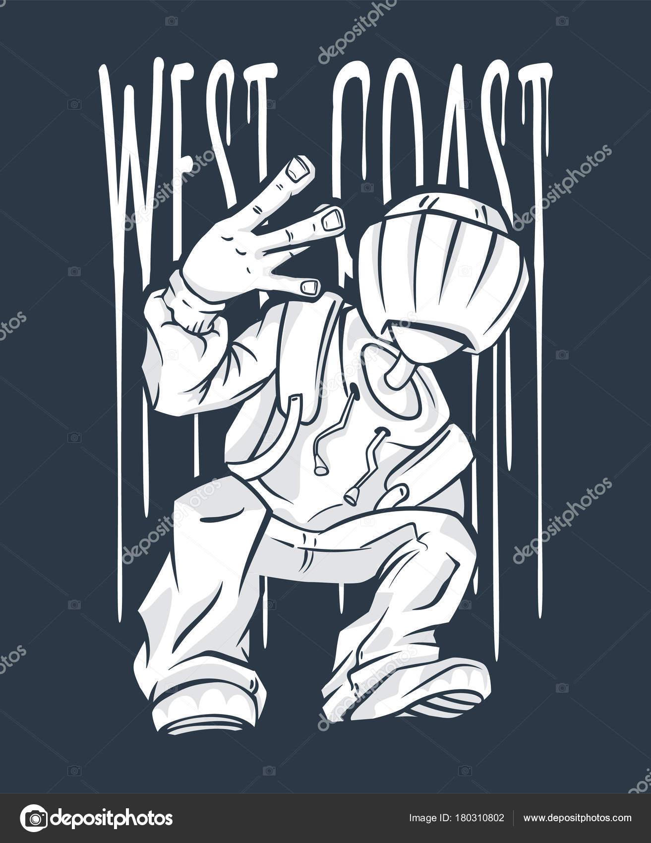 West coast hand sign | West Coast Guy Hip-Hop hand gesture. rap sign. —  Stock Vector © rosdesign #180310802