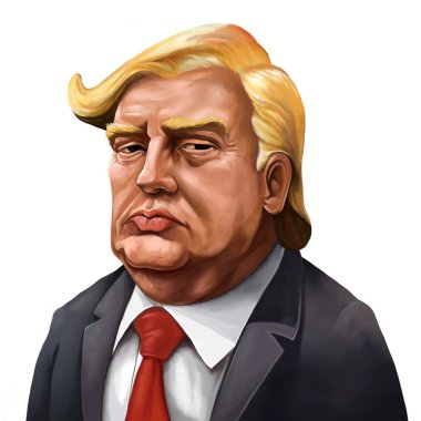 Cartoon Portrait of Donald Trump - Illustrated by Erkan Atay