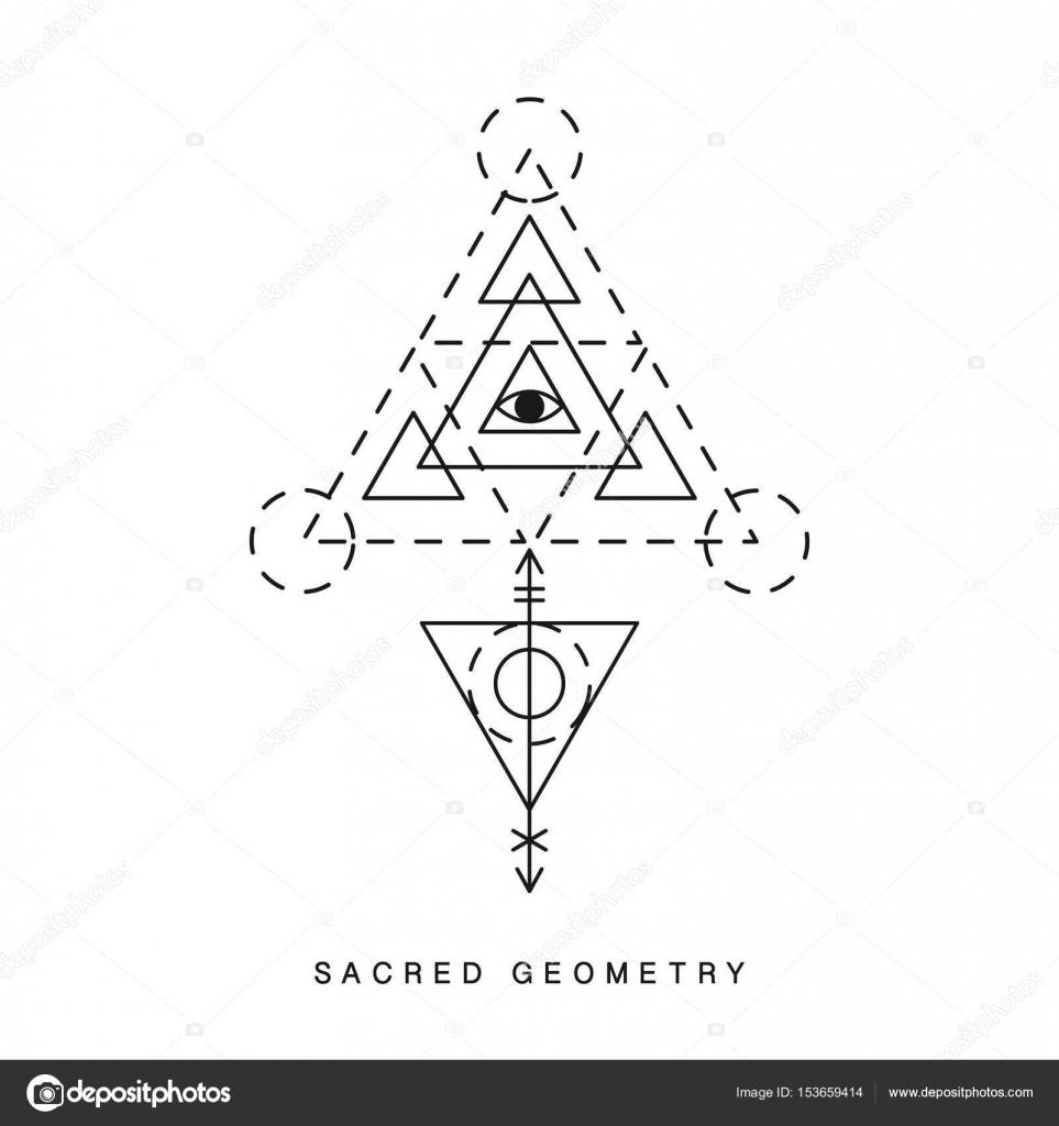 Sakral geometri tecken, tatuering — Stock Vektor © artrise #153659414