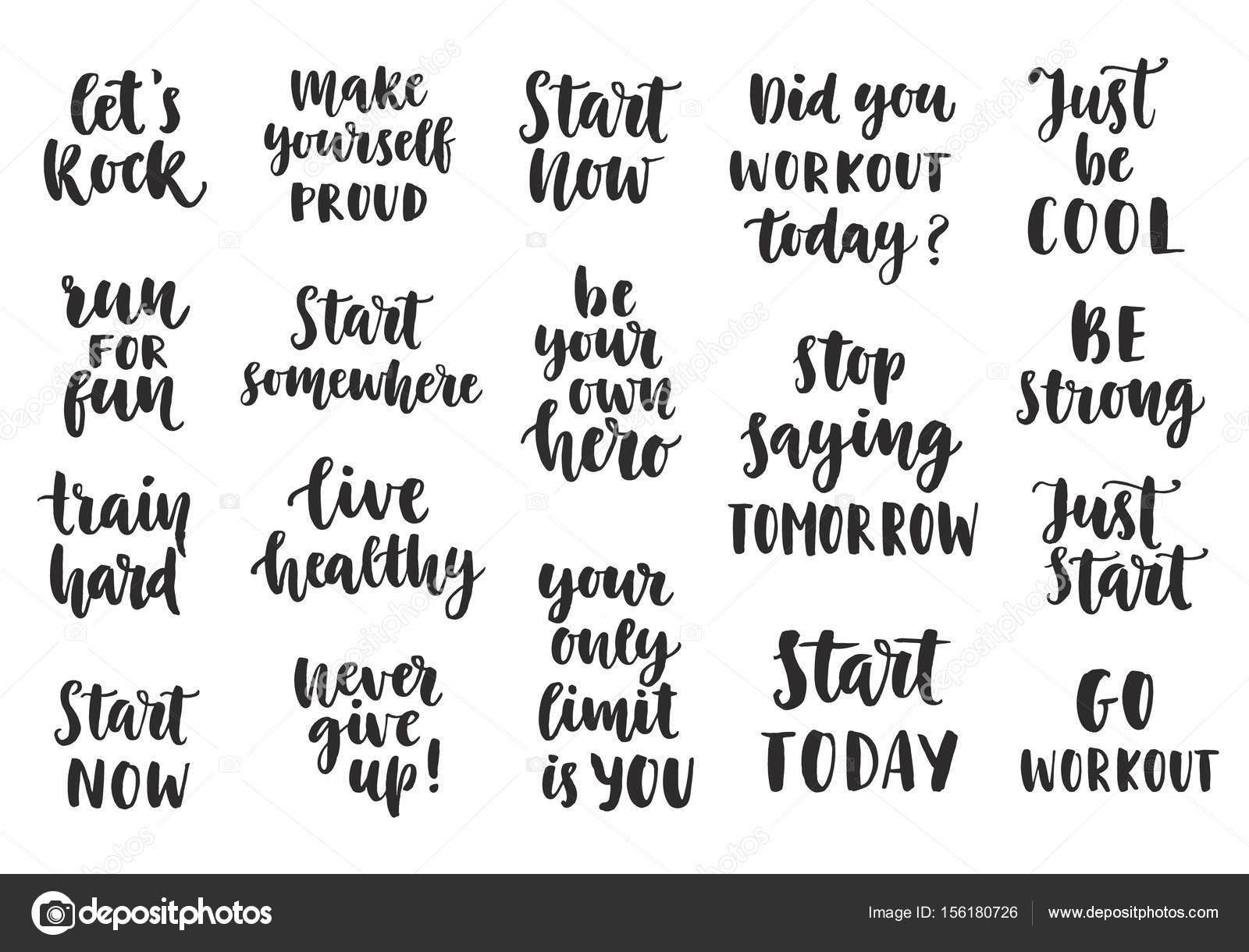 ae42fe002 Conjunto de citações inspiradoras de esporte em fundo branco. Letras de  escova. Mão-extraídas elementos de design de tipografia.