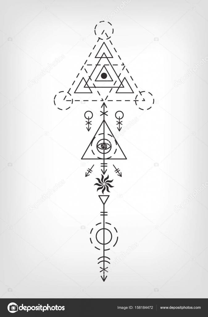 Vector Tatuajes Lineales Signo Azteca Del Tatuaje De Geometria