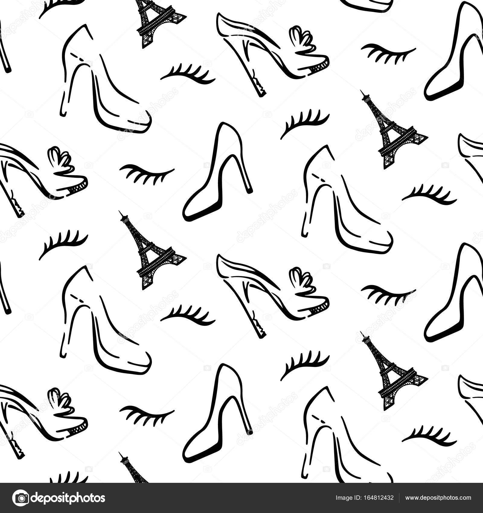 1ec50558baae25 Мода безшовні візерунок тло з боку звернено ескіз шикарних жінок взуття та  Ейфелевої вежі– стокова ілюстрація