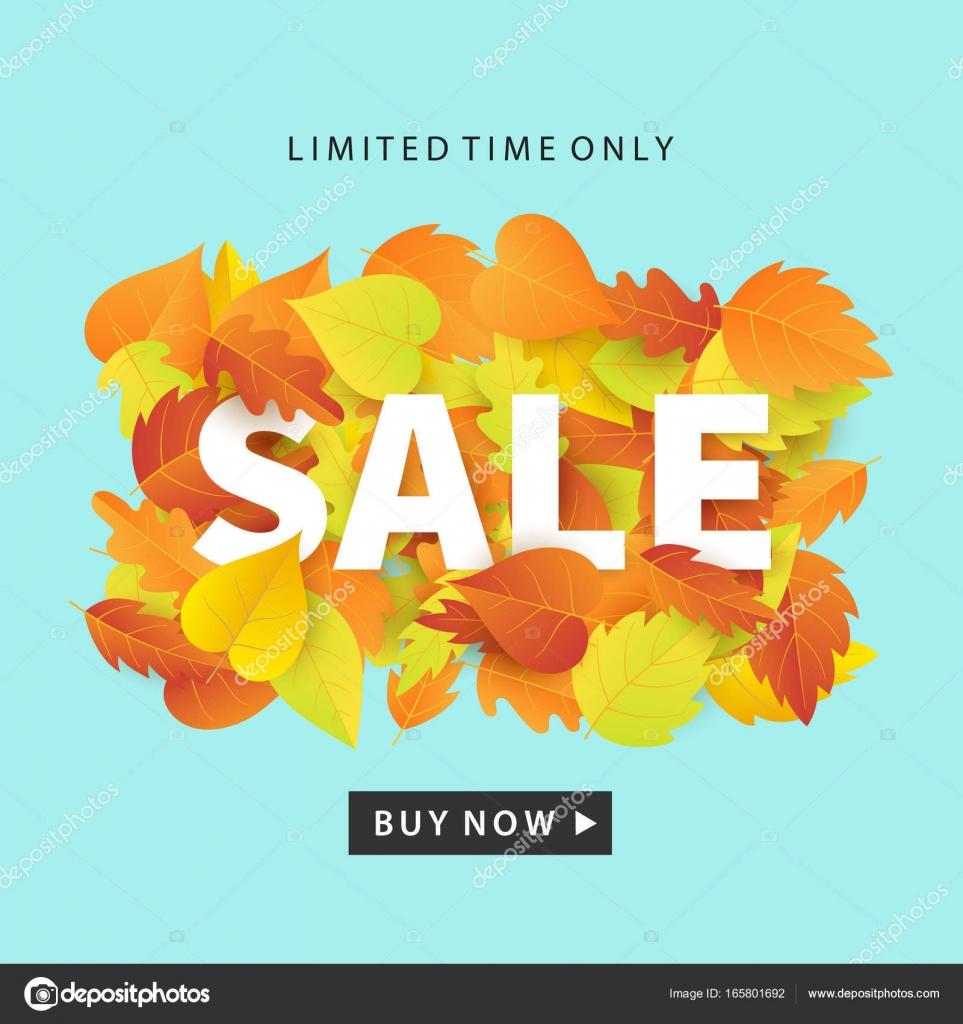 Herbst Sale modische Banner Vorlage mit bunten Herbstlaub auf hellen ...