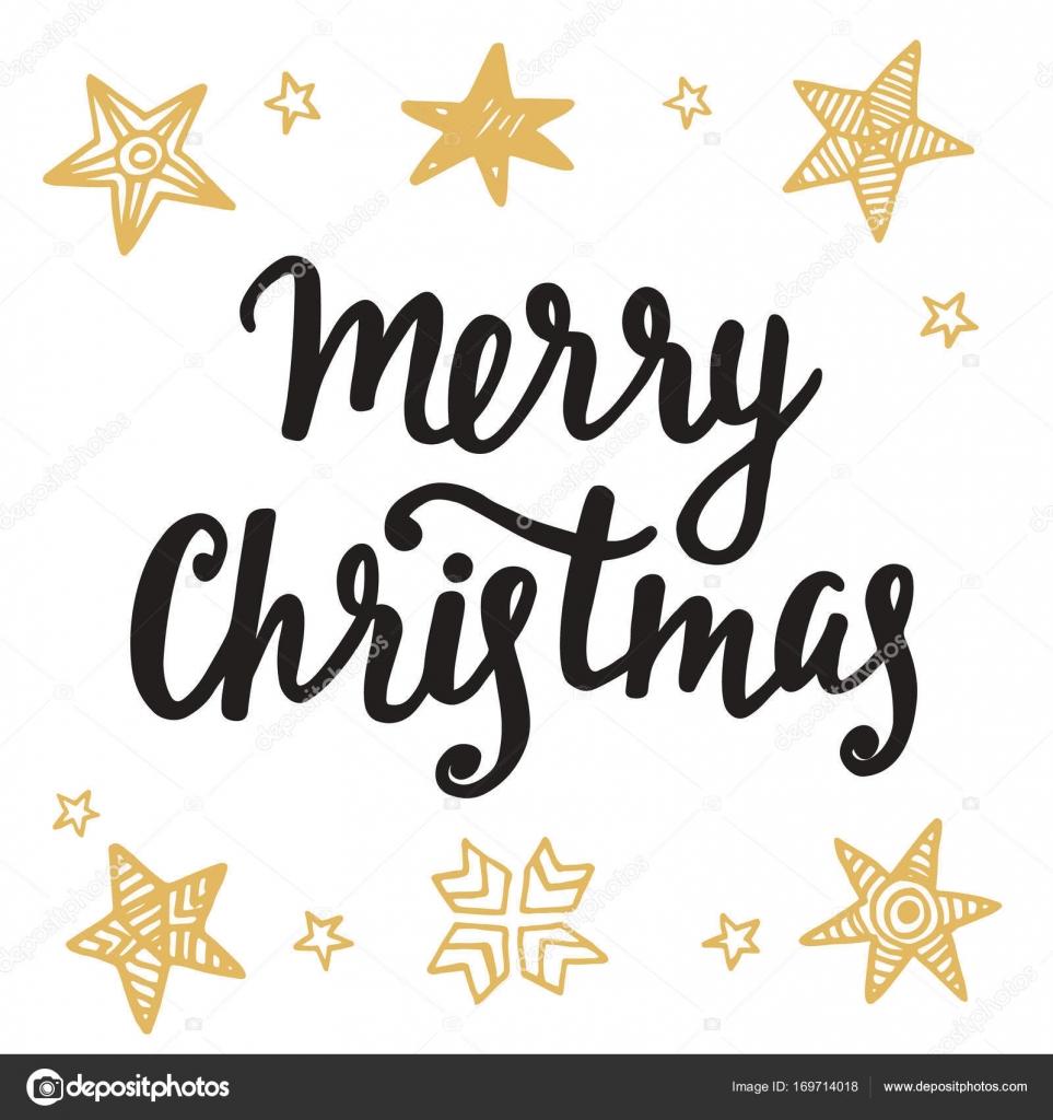 Frohe Weihnachten-Grußkarte. Hand-Schriftzug in goldenen und ...