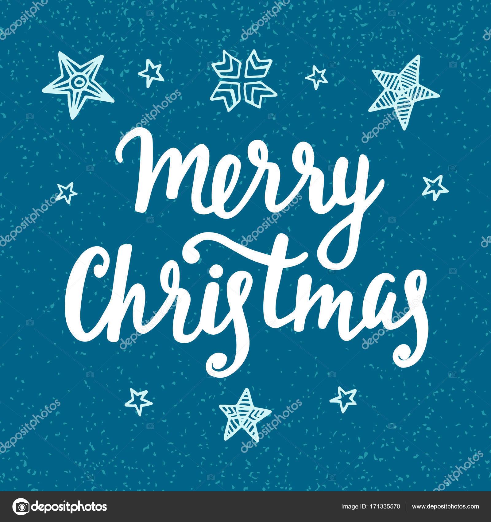 Frohe Weihnachten Vintage-Stil-Label mit Hand-Schriftzug und blauen ...