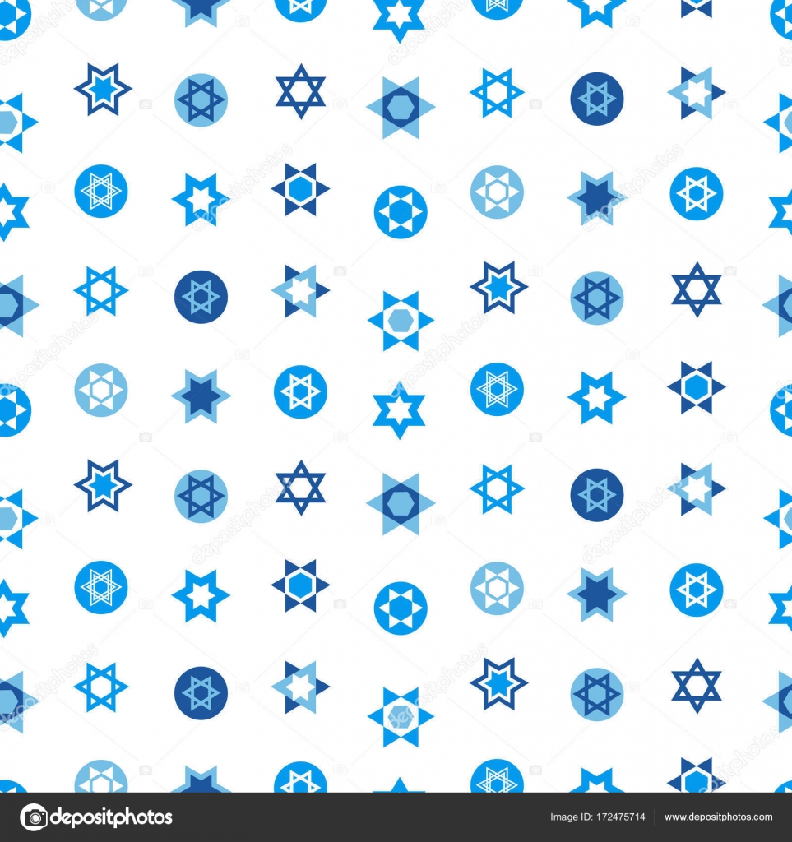 Jewish Stars Set Seamless Pattern Star Of David National Israel