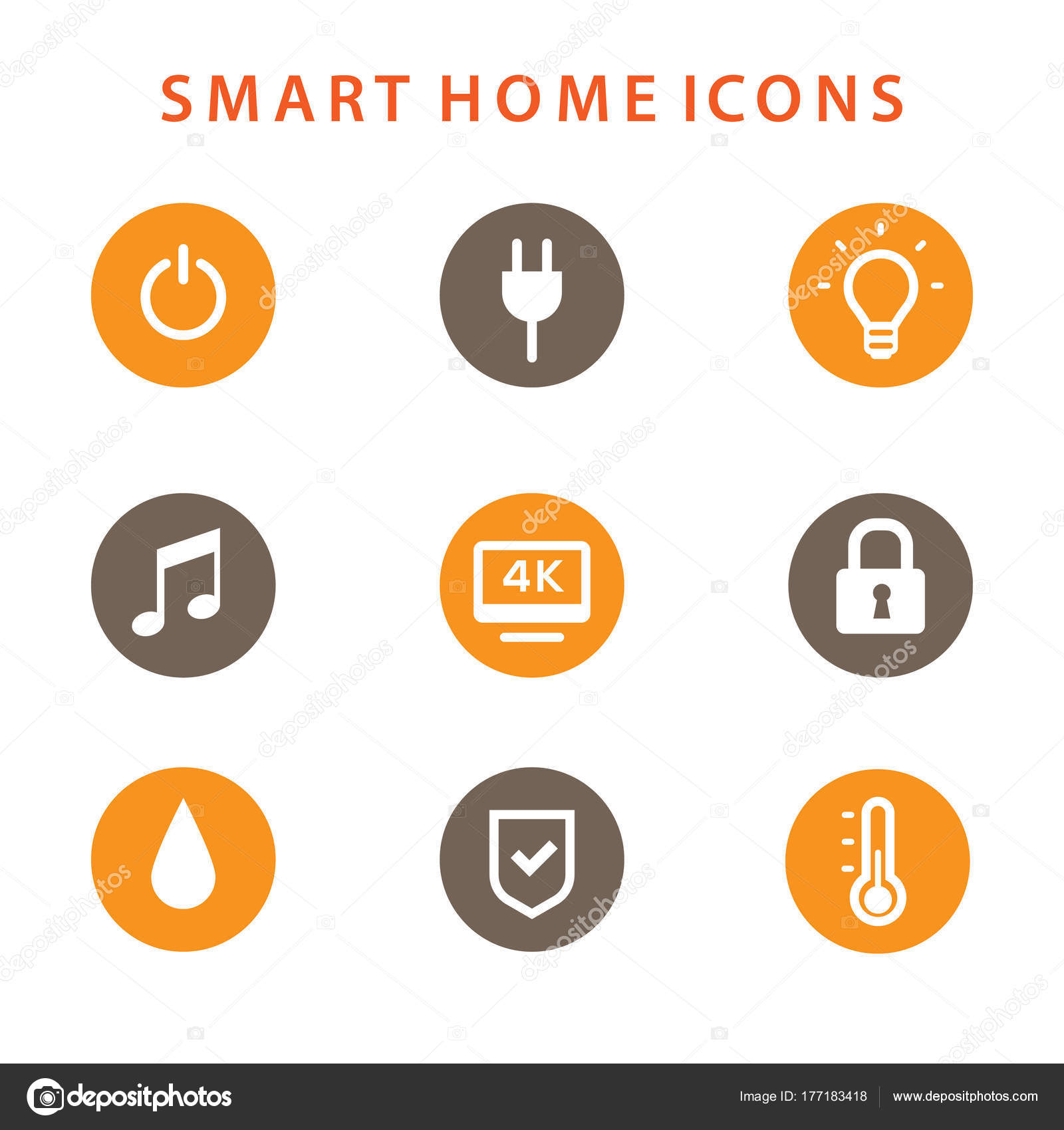 smart home icons set automation concept stock vector artrise 177183418. Black Bedroom Furniture Sets. Home Design Ideas