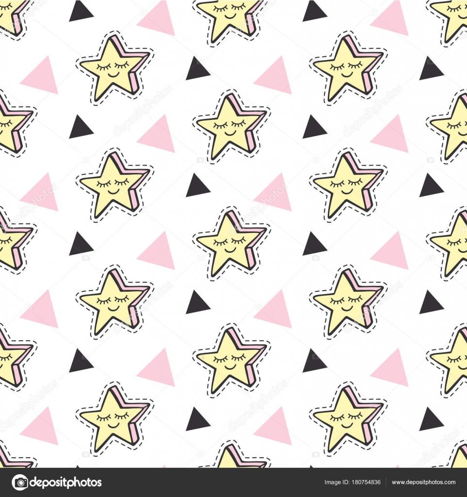 おしゃれな星ベクトル子供パッチ シームレス パターン背景セット