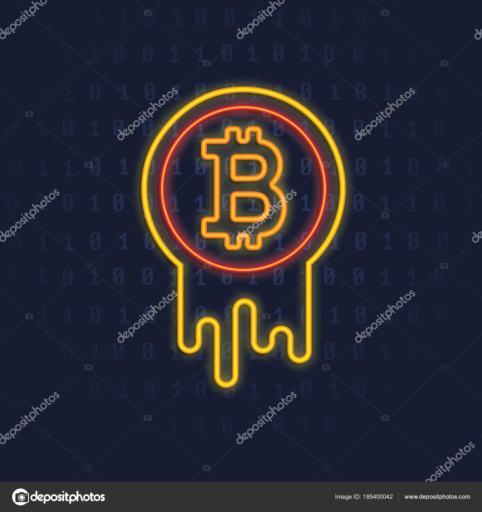 Neon Bitcoin Logo Crypto Currency Illuminated Glowing Icon Sign