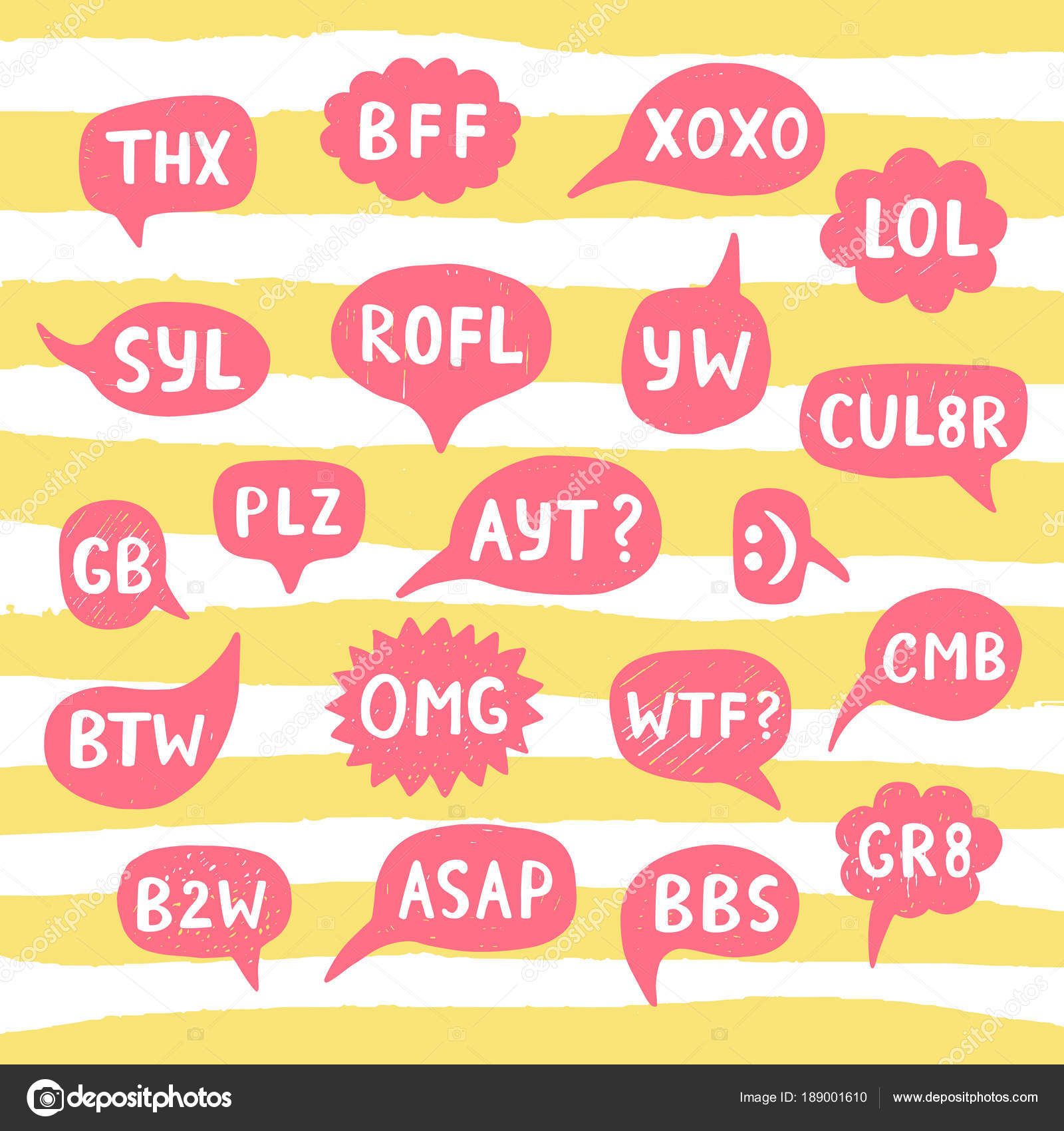 Disegnato A Mano Internet Acronimi Abbreviazioni In Chat Bolle Vettoriale Stock