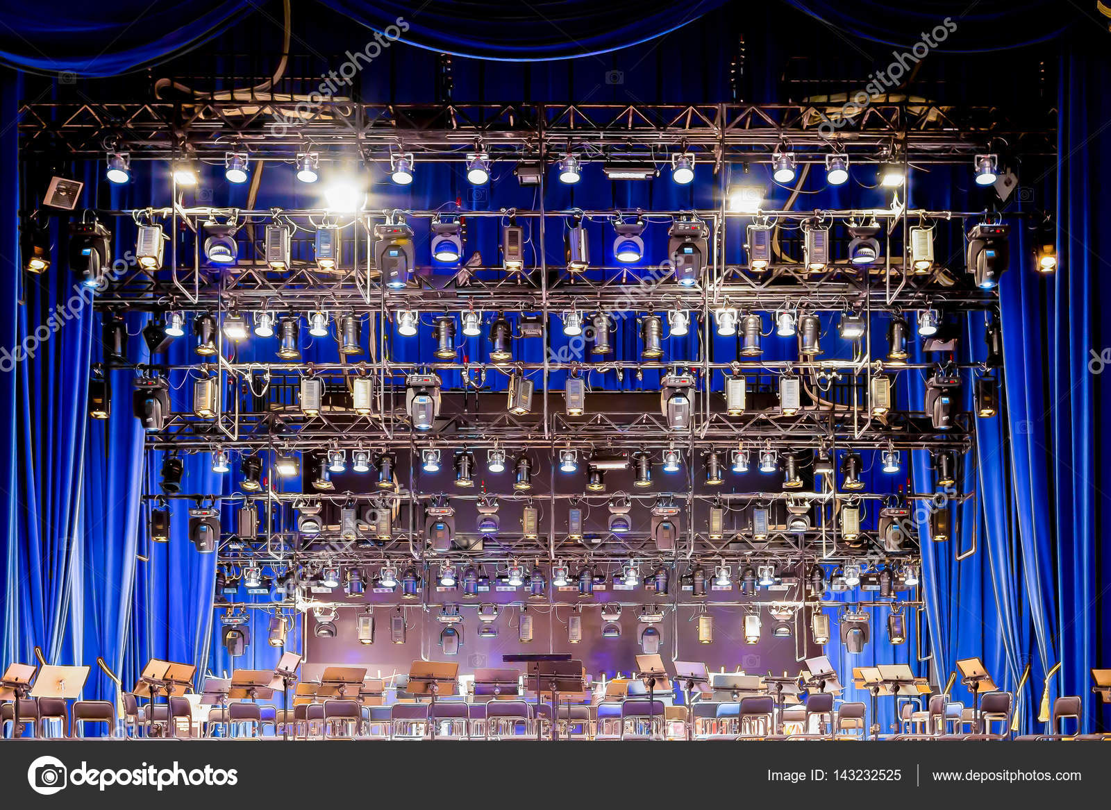 Lighting equipment on stage musical theatre or Philharmonic. u2014 Stock Photo & Lighting equipment on stage musical theatre or Philharmonic ...