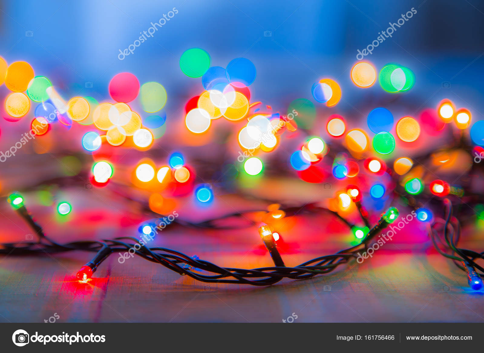colored lights christmas garlands colorful abstract background stock photo