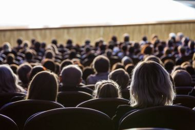 People in the auditorium during the performance. A theatrical production