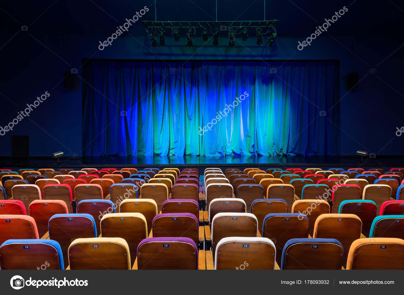 Auditorium Theater Blue Green Curtain Stage Multicolored Spectator Chairs  Lighting U2014 Stock Photo