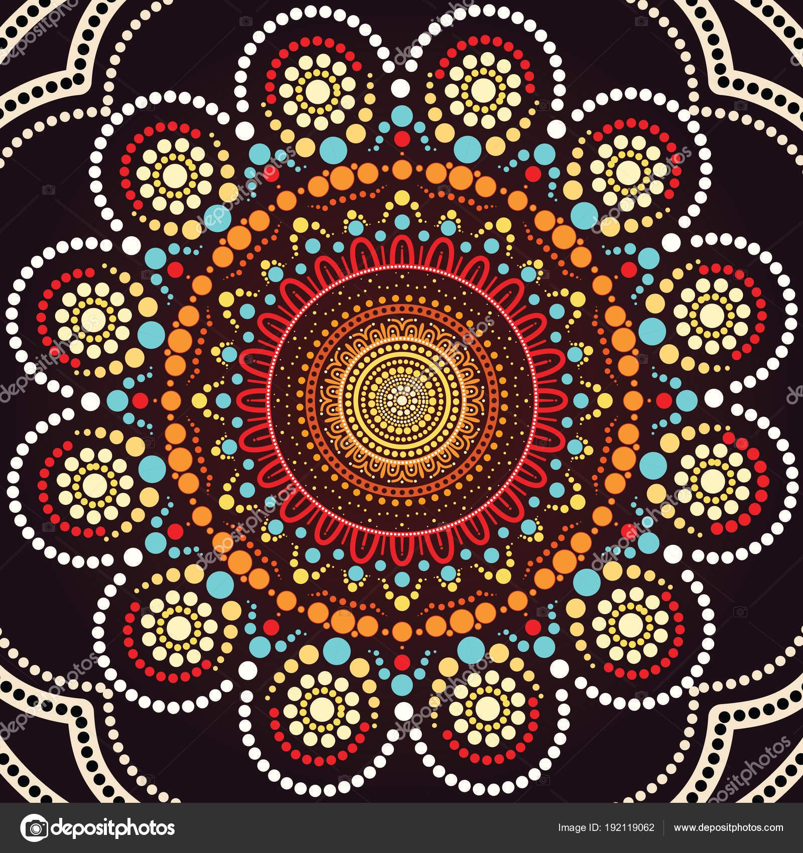 Aboriginal Dot Art Background Illustration Based Aboriginal Style